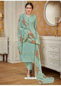 Sky Blue Designer Embroidered Straight Suit