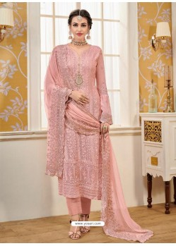 Pink Designer Embroidered Straight Suit