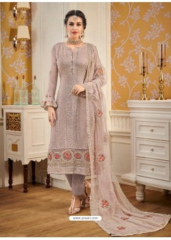 Light Brown Designer Embroidered Straight Suit