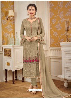 Beige Designer Embroidered Straight Suit