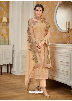 Light Beige Designer Embroidered Straight Suit