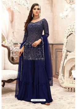 Navy Blue Georgette Embroidered Designer Sharara Suit