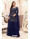 Navy Blue Georgette Embroidered Designer Sharara Suit