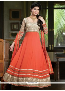 Asthetic Peach Georgette Anarkali Salwar Suit