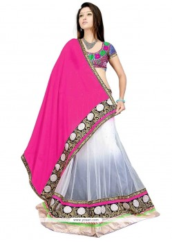Exceeding Net Pink And White A Line Lehenga Choli