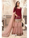 Maroon And Pink Georgette Embroidered Designer Sharara Suit