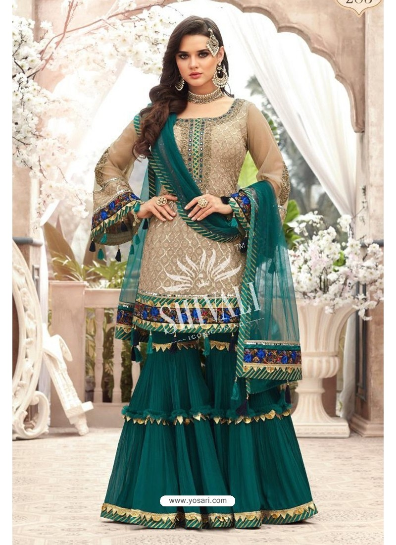 Beige And Green Georgette Embroidered Designer Sharara Suit
