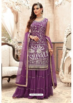 Lavender Georgette Embroidered Designer Sharara Suit