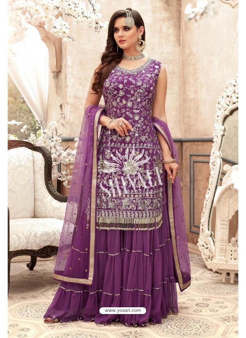 Lavender Georgette Embroidered Designer Sharara Suit