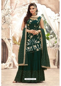 Dark Green Georgette Embroidered Designer Sharara Suit