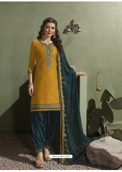 Mustard and Tealblue Pure Satin Patiala Salwar Suit