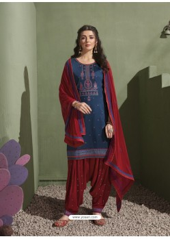 Navy and Rani Pure Satin Patiala Salwar Suit