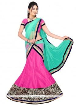 Compelling Net Hot Pink And Sea Green A Line Lehenga Choli