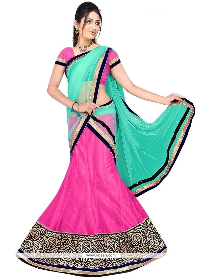 Compelling Net Hot Pink And Sea Green A Line Lehenga Choli
