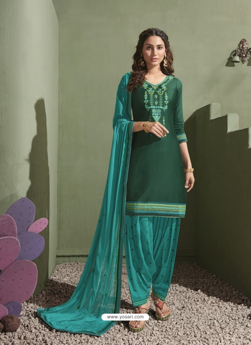 Dark Green and Turquoise Pure Satin Patiala Salwar Suit