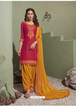 Rani and Yellow Pure Satin Patiala Salwar Suit