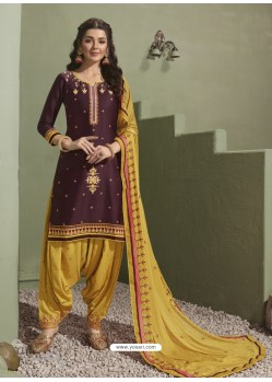 Purple and Yellow Pure Satin Patiala Salwar Suit