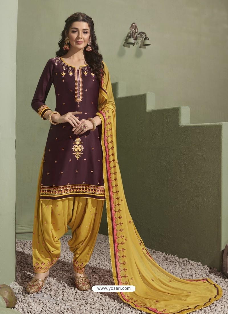Purple and Yellow Pure Satin Patiala Salwar Suit