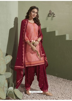 Pink and Maroon Pure Satin Patiala Salwar Suit