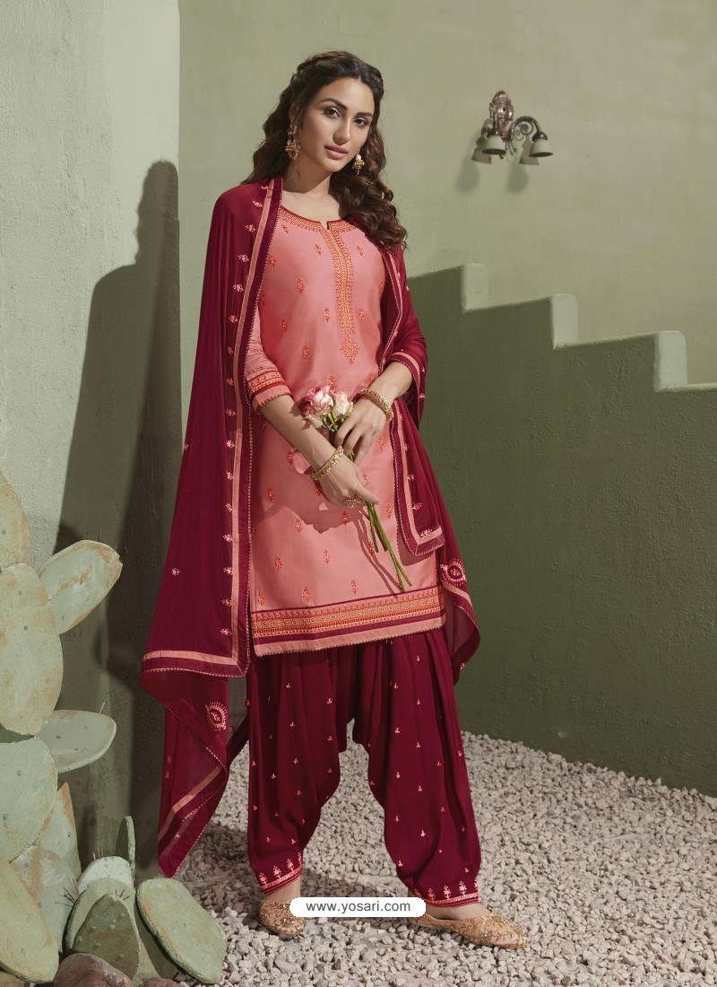 Pink and Maroon Pure Satin Patiala Salwar Suit