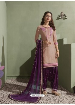 Light Beige and Purple Pure Satin Patiala Salwar Suit