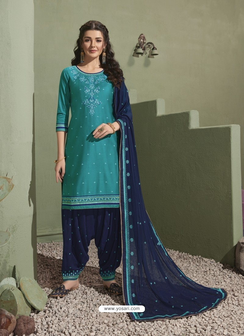 Turquoise and Navy Pure Satin Patiala Salwar Suit