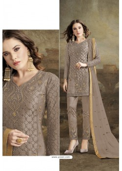 Beige Butterfly Net Party Wear Straight Suit