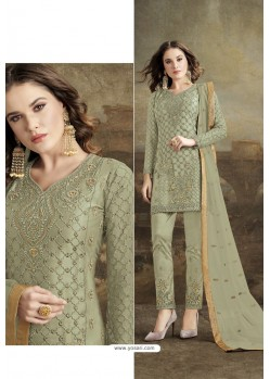 Green Butterfly Net Party Wear Straight Suit