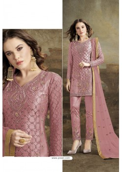 Pink Butterfly Net Party Wear Straight Suit