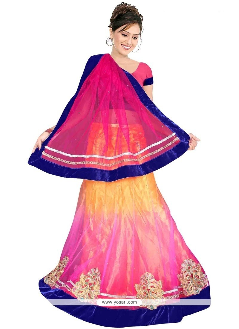 Attractive Net Magenta And Pink A Line Lehenga Choli