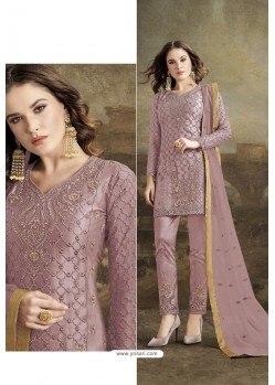 Mauve Butterfly Net Party Wear Straight Suit