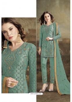 Turquoise Butterfly Net Party Wear Straight Suit