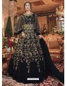 Black Embroidered Soft Net Party Wear Anarkali Suit