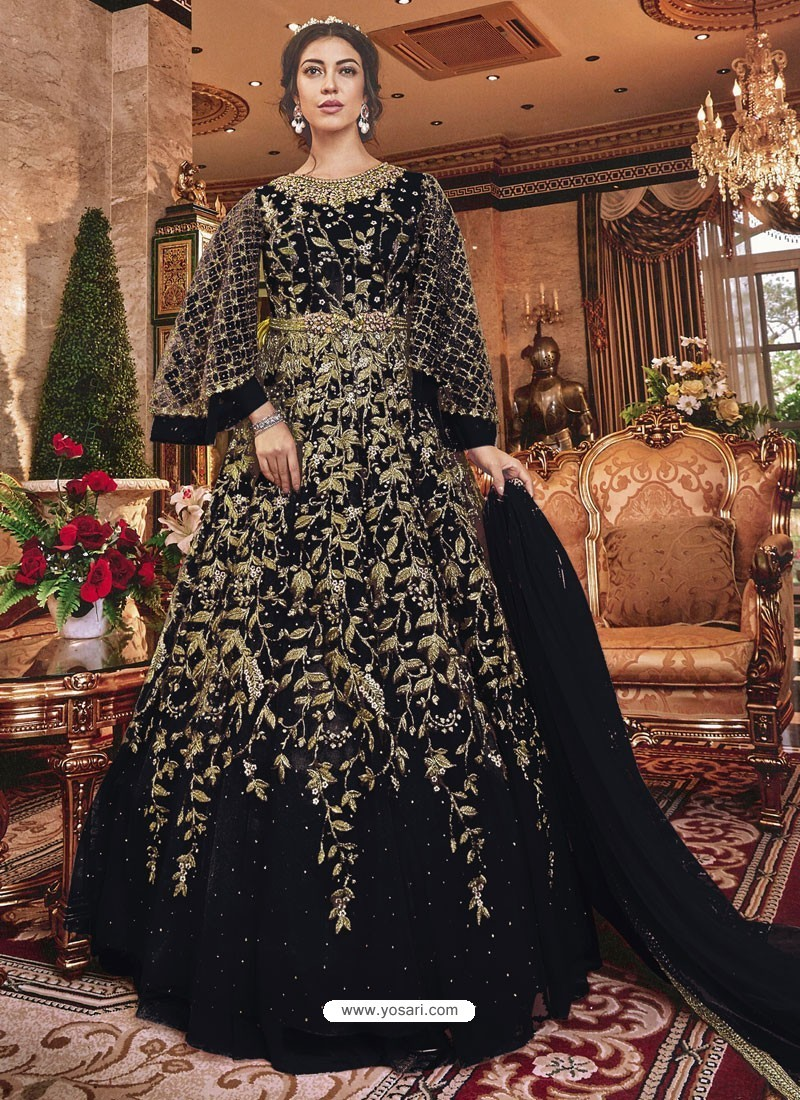 Black Embroidered Soft Net Party Wear Anarkali Suit