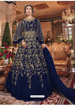 Navy Blue Embroidered Soft Net Party Wear Anarkali Suit