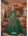 Dark Green Embroidered Soft Net Party Wear Anarkali Suit