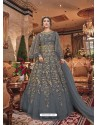 Grey Embroidered Soft Net Party Wear Anarkali Suit