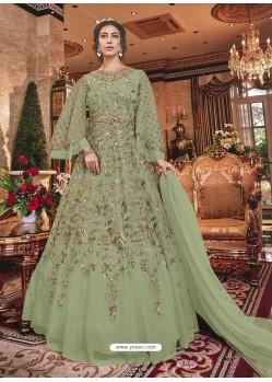 Mehendi Green Embroidered Soft Net Party Wear Anarkali Suit