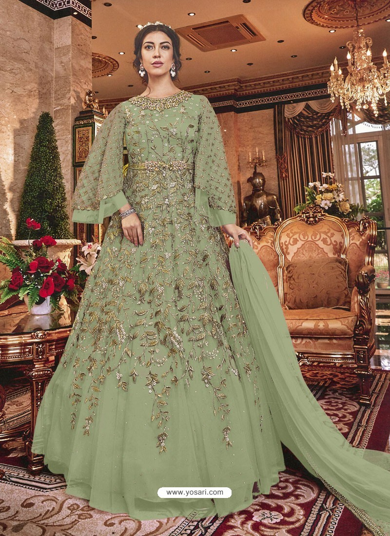 Mehendi Green Embroidered Soft Net Party Wear Anarkali Suit