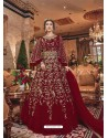 Maroon Embroidered Soft Net Party Wear Anarkali Suit