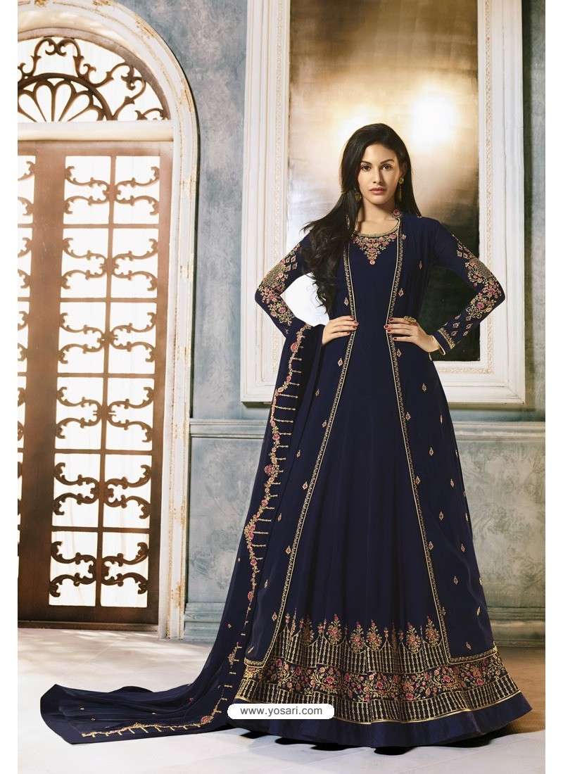 Navy Blue Faux Georgette Party Wear Anarkali Suit