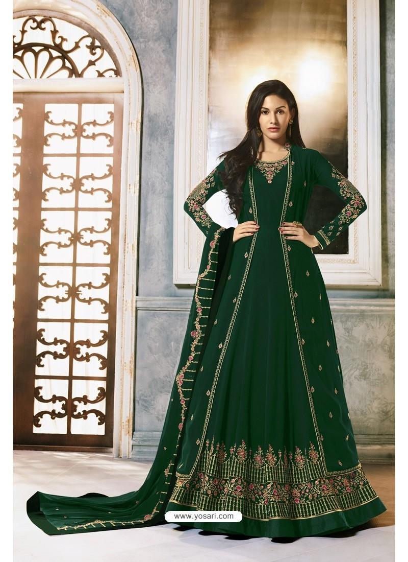 Dark Green Faux Georgette Party Wear Anarkali Suit