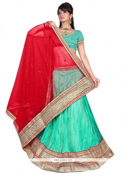 Hypnotic Embroidered Work Sea Green A Line Lehenga Choli