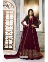 Maroon Faux Georgette Party Wear Anarkali Suit