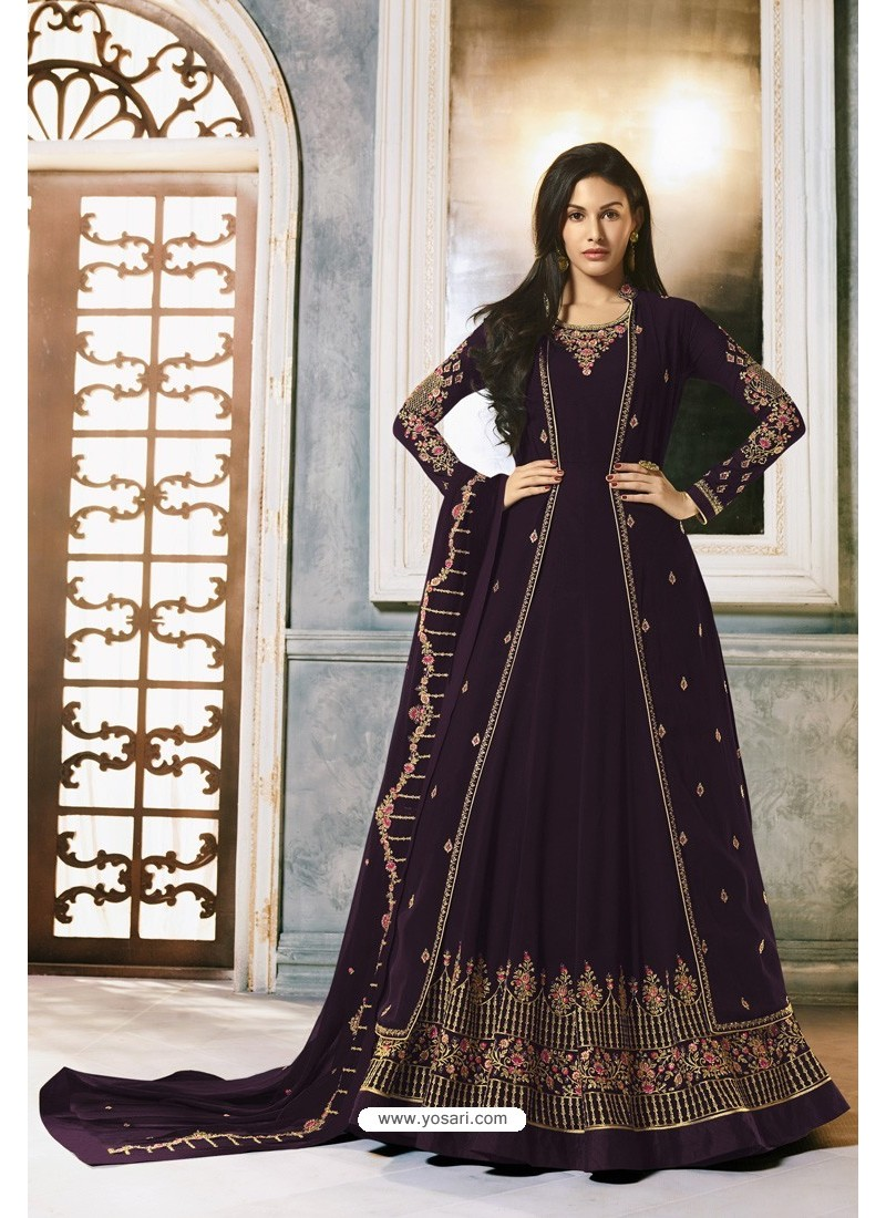 Purple Faux Georgette Party Wear Anarkali Suit