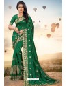 Dark Green Heavy Jari Embroidered Mayo Silk Saree
