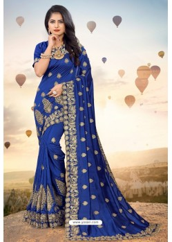 Navy Blue Heavy Jari Embroidered Mayo Silk Saree