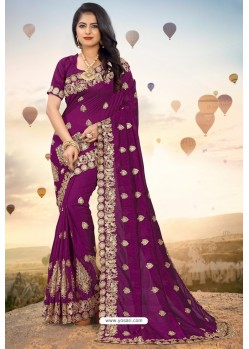 Deep Wine Heavy Jari Embroidered Mayo Silk Saree