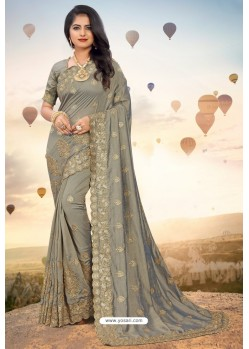 Grey Heavy Jari Embroidered Mayo Silk Saree