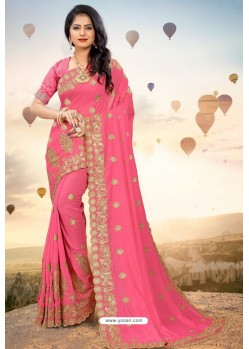 Hot Pink Heavy Jari Embroidered Mayo Silk Saree